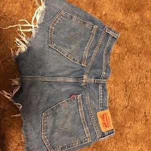 Distressed Levi 501 Shorts